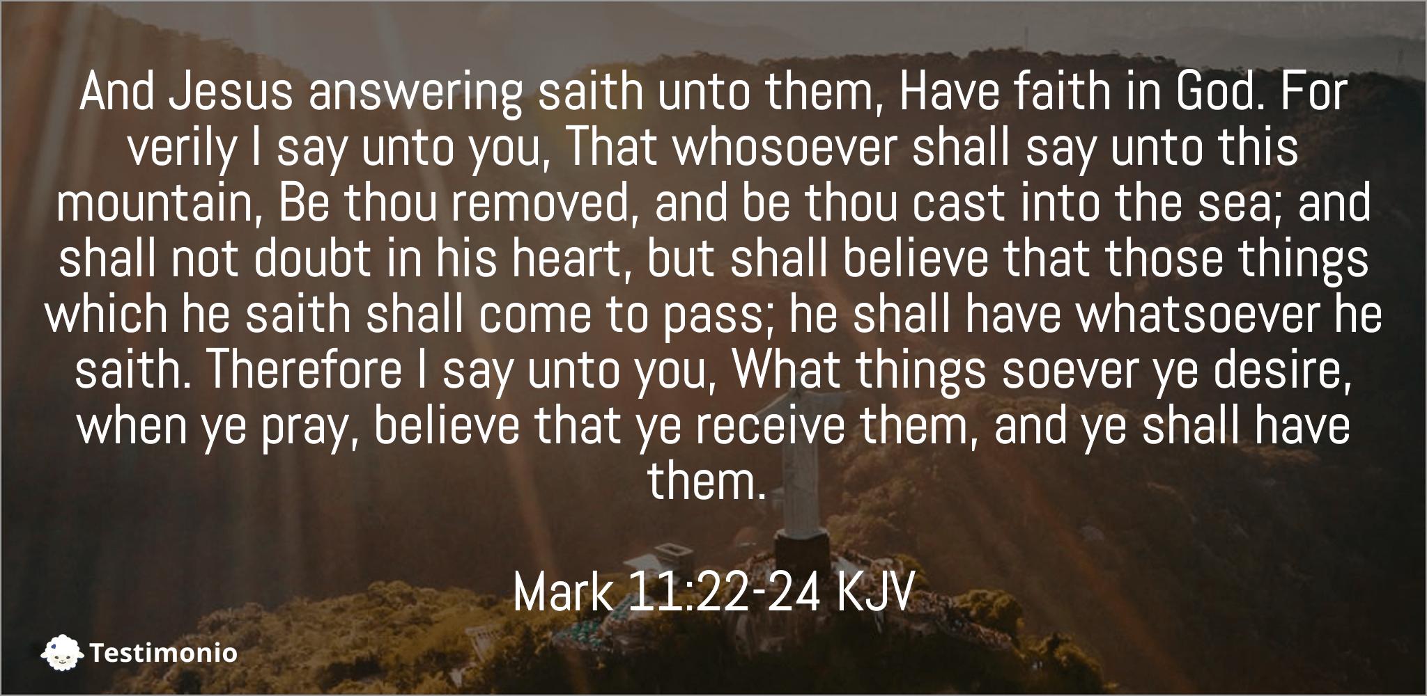 Mark 11:22-24